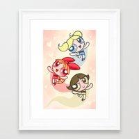 powerpuff girls Framed Art Prints featuring Powerpuff Girls by catawump
