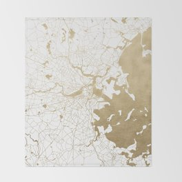 Boston White and Gold Map Throw Blanket