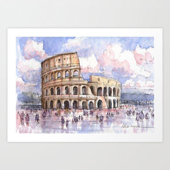 Il Colosseo, Roma (Color Version) Art Print