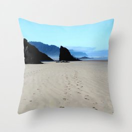 Footpirnts In The Sand Throw Pillow