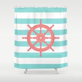 AFE Nautical Wheel  Coral & Seafoam Shower Curtain