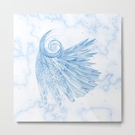 Beautiful Feathers on Blue Marble Design Metal Print