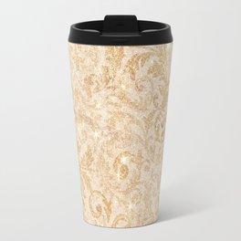 Elegant vintage faux gold glitter antique floral damask Travel Mug