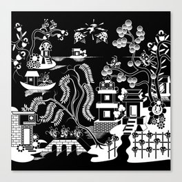 Goo Willow: Black on White Canvas Print