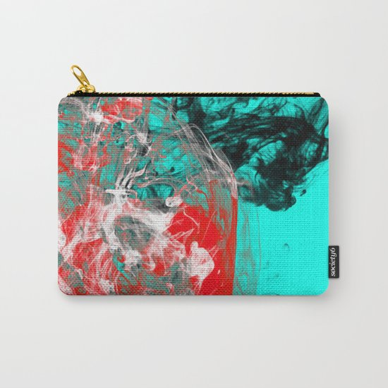 Marbled Collision - Abstract, red, blue, black and white mixed paint artwork Carry-All Pouch
