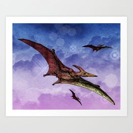 Flying Pterodactyls in the Sky Art Print