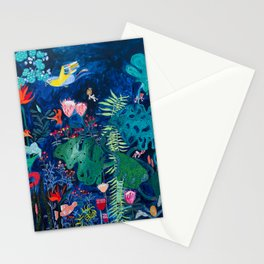 Brightly Rainbow Tropical Jungle Mural with Birds and Tiny Big Cats Stationery Cards