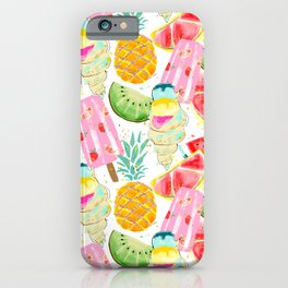 icecream and fruits pattern iPhone Case