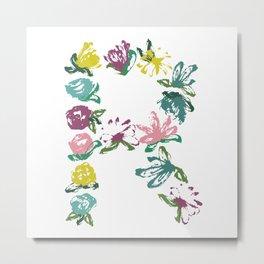 Floral R Monogram Metal Print