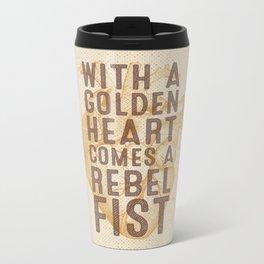 Golden Heart Metal Travel Mug