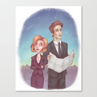 scully Canvas Prints featuring Mulder & Scully by Kaz Palladino & Awkward Affections