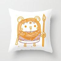 ewok Throw Pillows featuring Cheeseburger Ewok by Philip Tseng