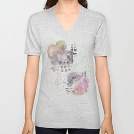 180805 Subtle Confidence 6| Colorful Abstract |Modern Watercolor Art Unisex V-Neck