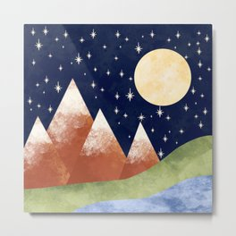 Full Moon In The Mountains Metal Print