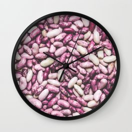 Shiny white and purple cool beans Wall Clock