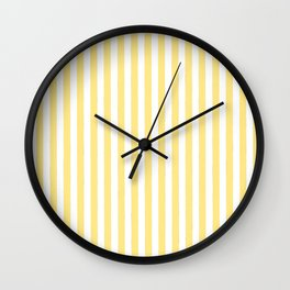 Modern geometrical baby yellow white stripes pattern Wall Clock