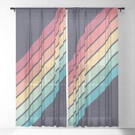 Lembona - Classic 70s Vintage Style Retro Summer Stripes Sheer Curtain