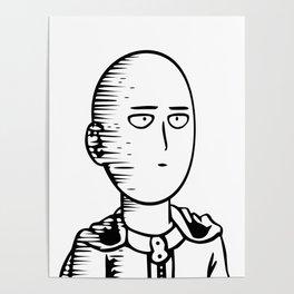 Onepunchman Pokerface line art Poster