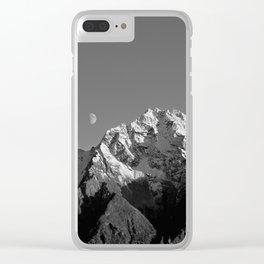 Moon Over Pioneer Peak B&W Clear iPhone Case