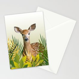 Deer with grass leaves Stationery Cards