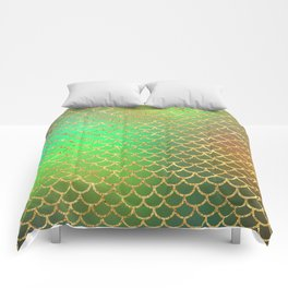 Luxurious Greens and Gold Mermaid Scale Pattern Comforters