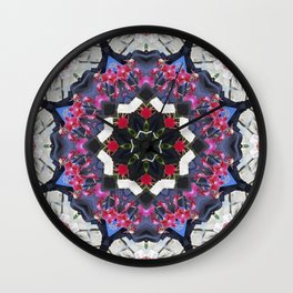 Orchids And Stone Wall Kaleidoscope 1763 Wall Clock