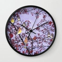 cedar waxwings and berries Wall Clock