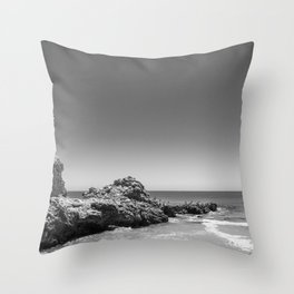 Birds sit on rocks along Rancho Palos Verdes coastline Throw Pillow