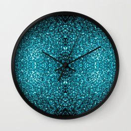 Beautiful Aqua blue glitter sparkles Wall Clock
