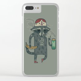"Raccoon wearing human ""hat"" Clear iPhone Case"