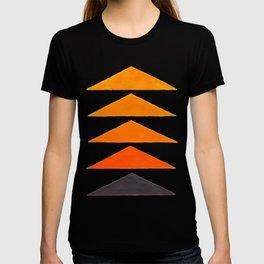 Vintage Scandinavian Orange Geometric Triangle Pattern T-shirt
