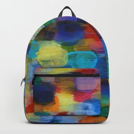 Colorful Abstract Art Brushstrokes in Yellow, Blue, Turquoise Backpack