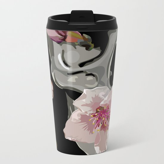 """Spring"" Skull and flowers Metal Travel Mug"