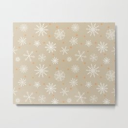 Snowflakes and Stars on Kraft Paper Metal Print