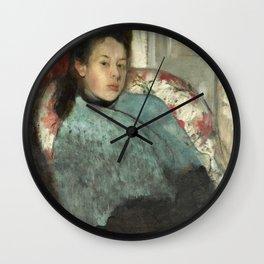 Portrait of Elena Carafa by Edgar Degas Wall Clock