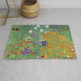 Gustav Klimt Flower Garden Floral Art Nouveau Rug