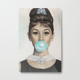 Contemporary Print - Big Blue Bubble Gum Bubble Being Blown by Audrey Hepburn Colour Picture Poster Art Artwork Modern Metal Print