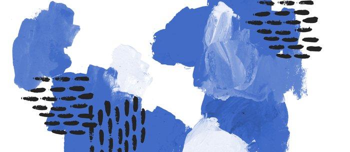 Painted blue abstract monochromatic minimal modern art painting dorm college gender neutral design Coffee Mug