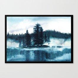 Misty lake watercolor landcape Canvas Print