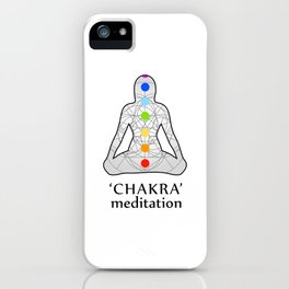 Woman in meditation with the seven chakras and its respective colors iPhone Case