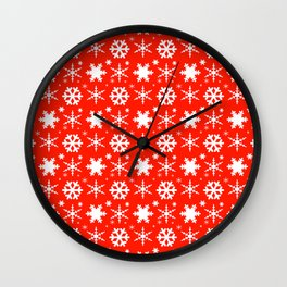 Snowflakes Red Wall Clock