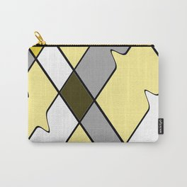 Yellow diamonds with gray, black and white geometric pattern Carry-All Pouch