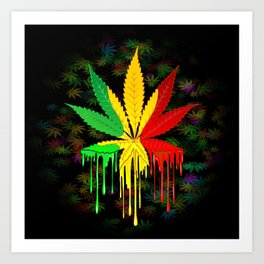 Marijuana Leaf Rasta Colors Dripping Paint Art Print