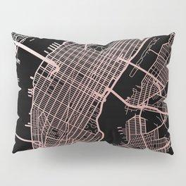 New York City Map - Rose Gold Pillow Sham