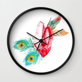Crystals and Feathers - Ruby Wall Clock