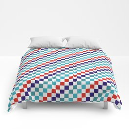 Gridded Red Tale Blue Pattern Comforters
