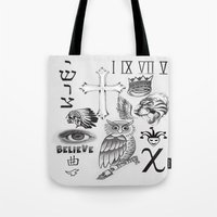 tattoos Tote Bags featuring Justin tattoos by The Bieber Shop!