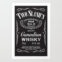 whisky Art Prints featuring Whisky Label by Two Slash Apparel