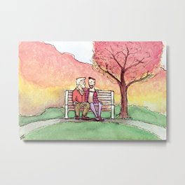 Fall scene: a couple in the park Metal Print