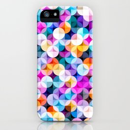 Retro petal diamond geometric colorful abstract hand drawn illustration pattern iPhone Case